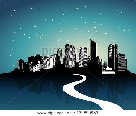 City with reflection and road. Vector art