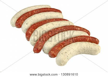 Uncooked Mix From Red And White Sausages Isolated On White