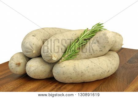 Weisswurst. Traditional Bavarian White Sausage, Isolated On White Background.