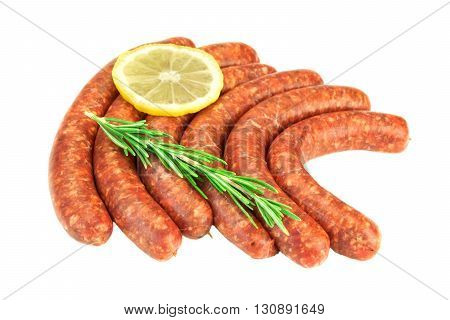 Sausages Made Of  Chorizo Mince In Natural Casing White Isolated
