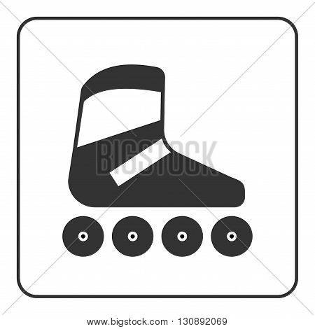 Roller skate icon. Flat design. Black skating equipment sign isolated on white background in frame. Symbol of sport relaxation activity and extreme leisure fitness Vector illustration