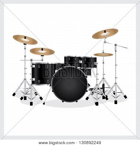 Vector Illustration Drum Set Black on White Background