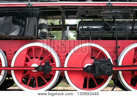the wheel of an old steam locomotive