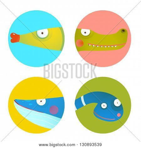Set of round circle icons with for children. Wildlife signs set. Vector EPS10.