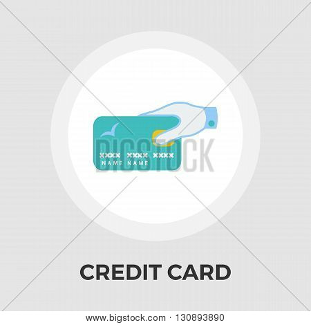 Credit Card Icon Vector. Flat icon isolated on the white background. Editable EPS file. Vector illustration.