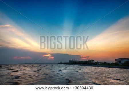beautiful twilight sky and seascape colorful cloudscape background landscape
