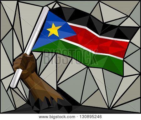 Powerful Hand Raising The Flag Of South Sudan