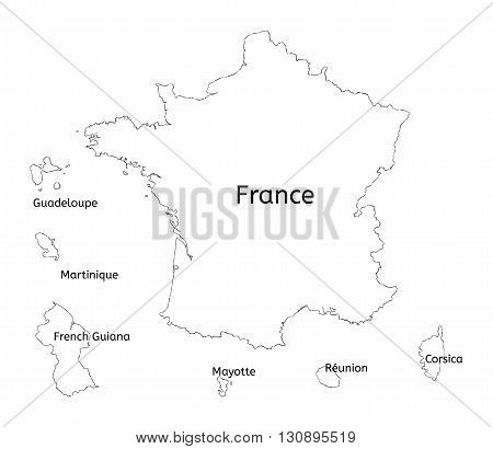 France and franch territory hand-drawn map isolated on white