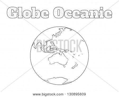 Hand-drawn globe of the world view over the Oceanie isolated on white