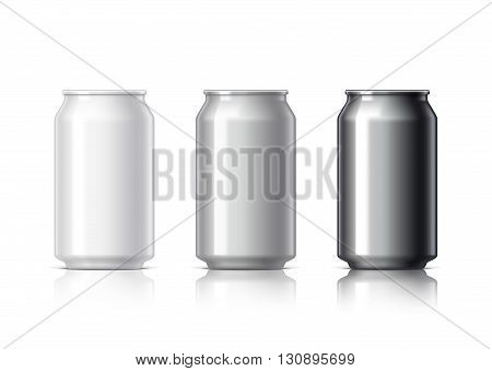 white black and gray aluminum cans for beer and soft drinks or energy. Packaging 330 ml. Object shadow and reflection on separate layers. Vector illustration