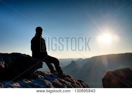 Tired Hiker Take A Rest In Nature.  Mountain Summit Above Forest In Valley. Traveling In European  N