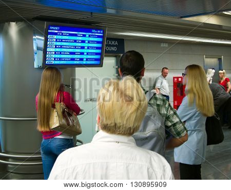 MOSCOW, Russia - May 14, 2013, People at the Vnukovo airport arrivals flights, Moscow