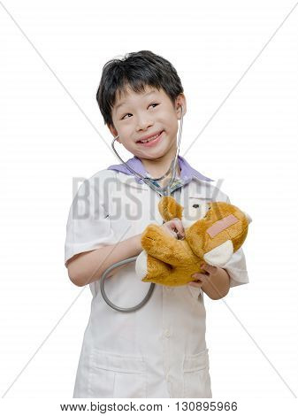 Young asian boy pretend to be doctor