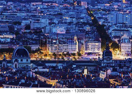 Night panorama of Lyon. Lyon Rhone-Alpes France.
