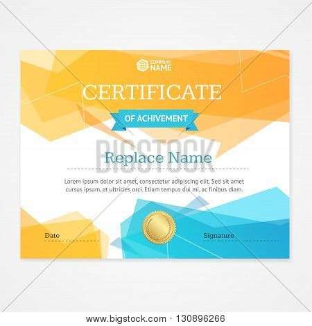 Modern Certificate Template Horizontal With Geometric Pattern. Vector illustration