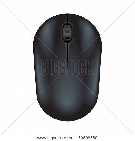 Black realistic computer mouse. Matte finish soft touch. Vector illustration on white background.