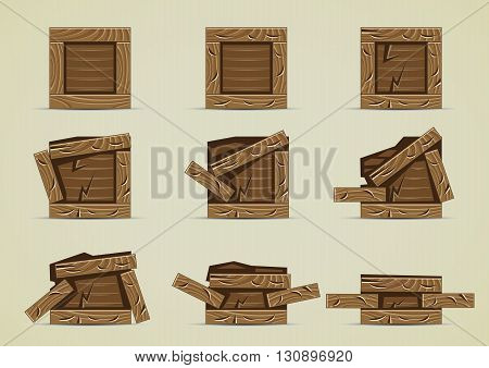 Set of broken dark brown boxes collection