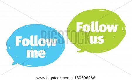 Follow me, follow us labels set for social networks. Vector typographic design.