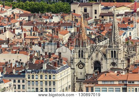 Roofs of Old Town in Lyon and Church of Saint Nizier in Lyon. Lyon Rhone-Alpes France.