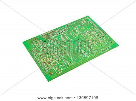 Printed green circuit board isolated on white background