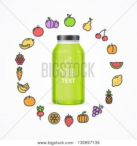 Juice Bottle Jar Template. Icons Of Fruit and Vegetables Around. Vector illustration