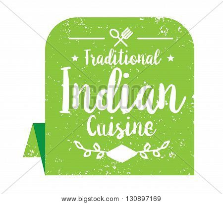 Authentic indian cuisine typographic design. Vector logo, label, tag or badge for restaurant. Isolated.