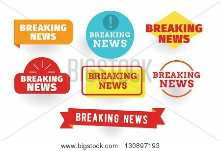 Breaking news labels set. Isolated vector typographic design.