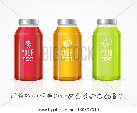 Colorful Juice Bottle Jar Template Set. Vector illustration