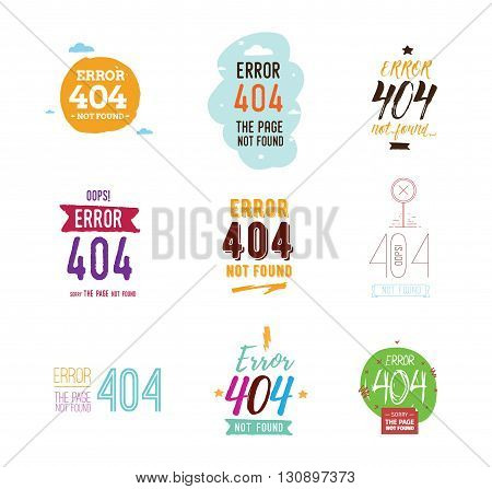 404 error web page. Typographic design elements. Page not found vector. Isolated on white background. Usable for web or t-shirt concept.