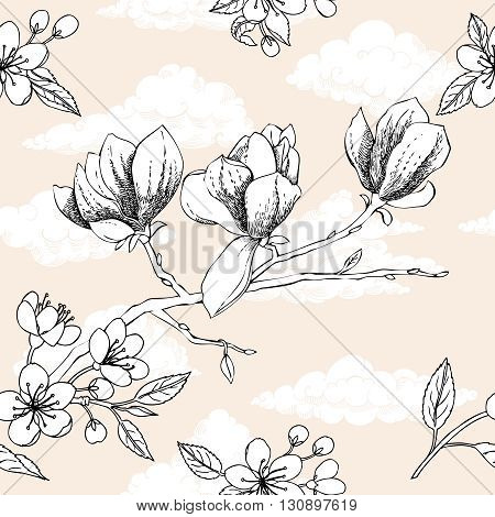 Seamless pattern with apple tree and magnolia. Hand drawn patten with spring garden flowers.Vector Illustration