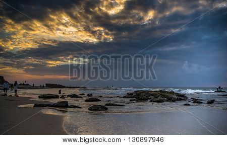 Long exposure seascape in Israel mediterranean beach travel