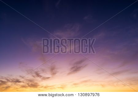 Purple sunset or sunrise sky