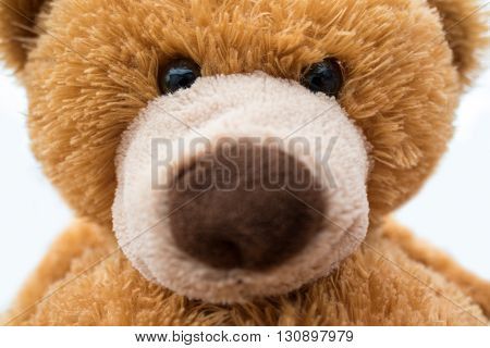 Closeup of brown stuffed teddy bear