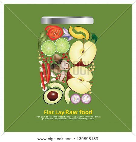 Flat Lay Design Ingredients for Food on Bowl Outline vector Illustration