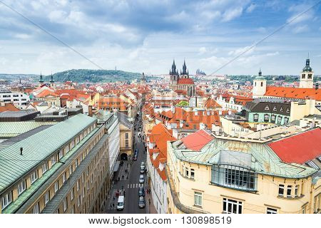 aerial view of street in old town Prague Czech Republic