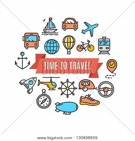 Travel Concept Card. Vacation and Tourism. Vector illustration