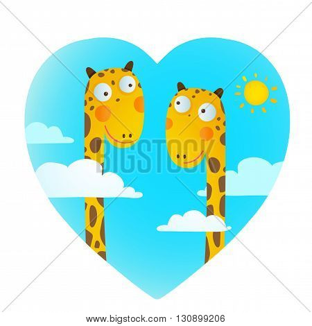 Funny friends love giraffes cartoon in heart shape with clouds and sun background for children. Wildlife childish illustration. Vector EPS10.