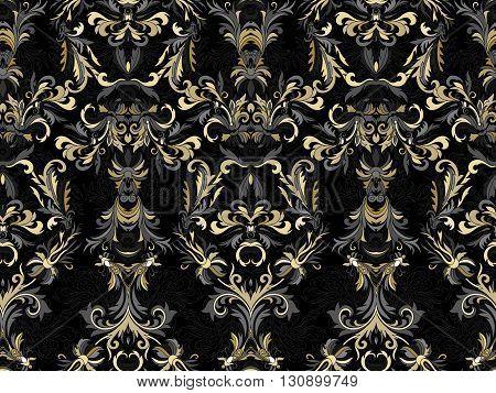 Luxury floral damask wallpaper. Seamless pattern background. Vector illustration, Golden gray tone ornate pattern on black backdrop.