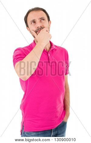 young casual man thinking, isolated on white background
