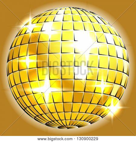 Gold chrome or metallic disco ball with sparkles on grey background illustration