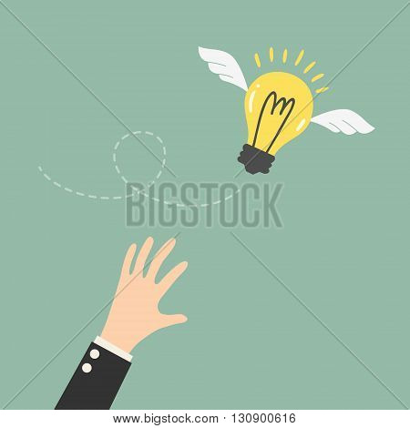 Reaching The Flying Idea. Business Concept Cartoon Illustration.