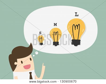 Businessman with different sizes of idea. Business Concept Cartoon Illustration.
