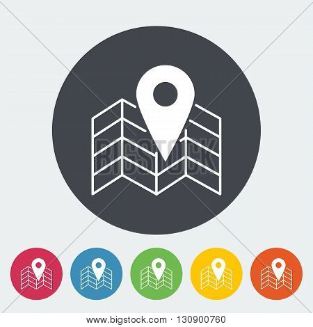 Map with point. Single flat icon on the circle button. Vector illustration.
