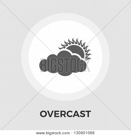 Overcast icon vector. Flat icon isolated on the white background. Editable EPS file. Vector illustration.