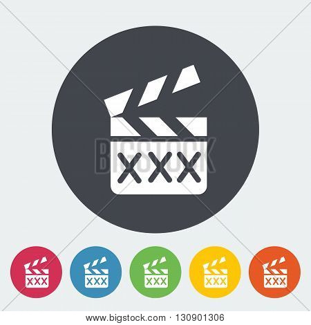 Adult movie clapper. Single flat icon on the circle button. Vector illustration.