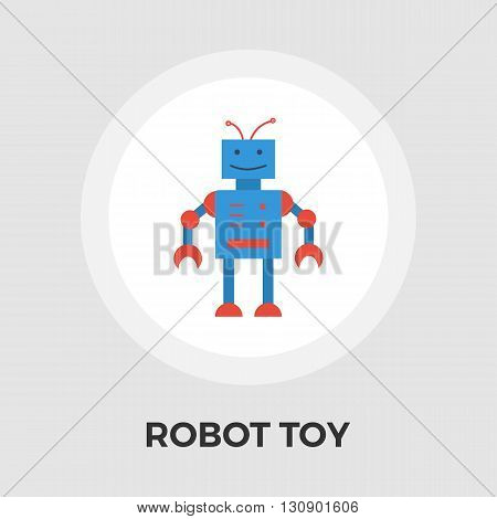 Robot toy icon vector. Flat icon isolated on the white background. Editable EPS file. Vector illustration.