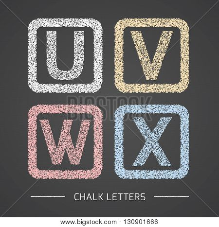 Chalk Alphabet in square frames collection. Letters U, V, W, X