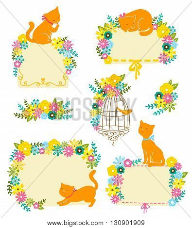 collection of labels and decorations with flowers and cats