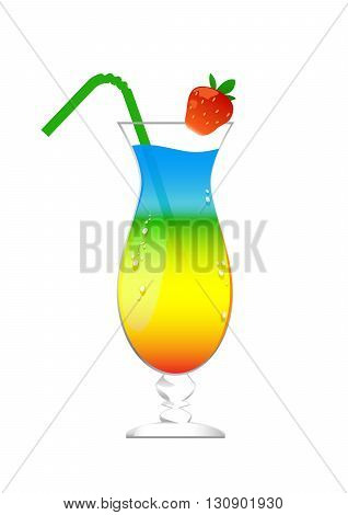 cocktail in a glass with ice with red strawberries