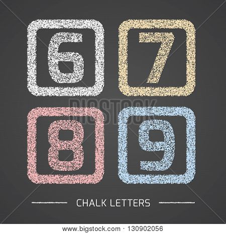 Chalk Alphabet in square frames collection. Numbers 6, 7, 8, 9